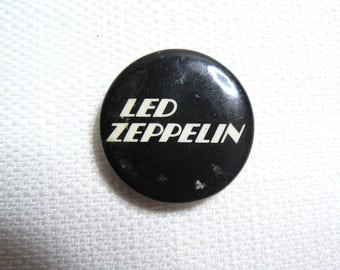 Vintage Early 80s - Led Zeppelin Black and White Logo Pin / Button / Badge