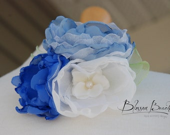 Cornflower blue and ivory hair clip;blue and ivory bridal hair flower;blue and ivory hair clip