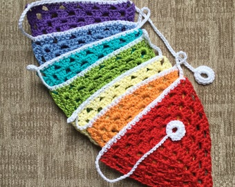 Crochet Bunting in Rainbow Colours