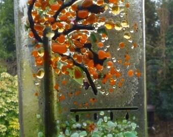 Fused Glass Tree Suncatcher. A Windy Day in Autumn Suncatcher. Fused Glass Art Tree.  Glass suncatcher