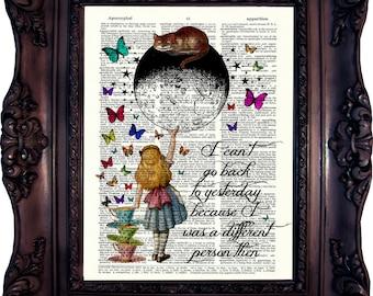 Alice in Wonderland Decoration Alice in wonderland Quote Dictionary ART Print Alice in Wonderland Wall Art Alice in Wonderland Decor C851