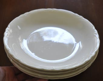 Set of 4 Creamy White Ironstone Salad Bowls, 8 1/4 in. Diameter