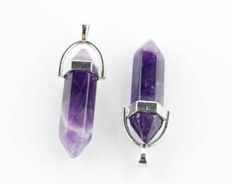 Amethyst Crystal Pendant. SILVER Hanger Point Crystal Bead for Necklace Earrings ,Wedding Gift Jewelry Beads Supply. 7x37mm.BC1-53
