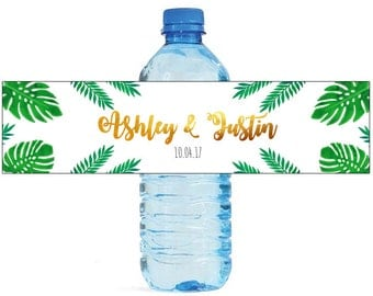 Gold tropics Wedding Anniversary Bridal Shower Water Bottle Labels Great for Engagement Party Golden Tropical design