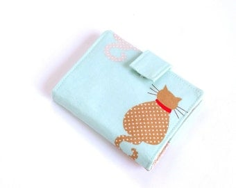 Cat Business Card Wallet, Womens Loyalty Card Holder, Blue Cat Card Holder, Fabric Credit Card Holder, Cat Travel Wallet, Kawaii Card Wallet