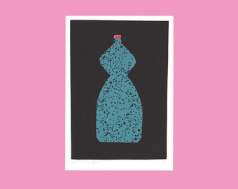 A screen print of curved bottle with black dots
