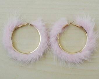 Fluffy mink fur hoop earrings - pink