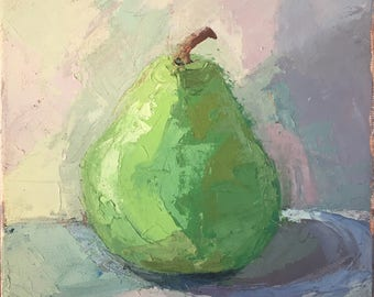 Pear - Original Oil Painting Palette Knife Painting on Canvas for Kitchen or Dining Area