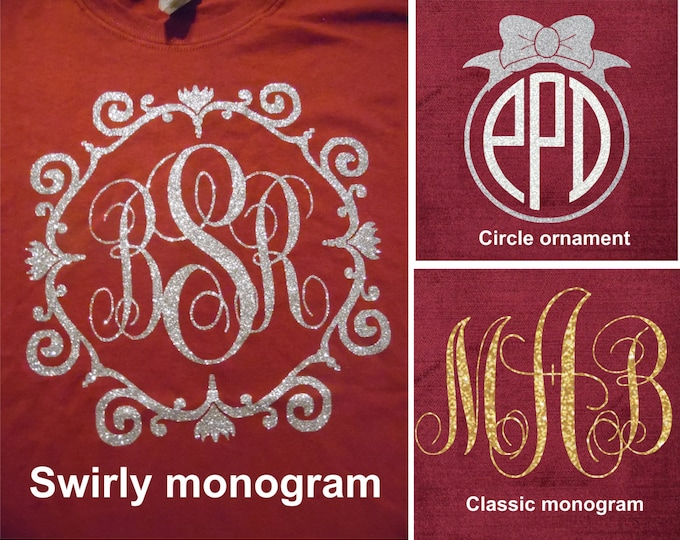 Glitter Monogrammed Short-sleeved T shirt - garnet color - choose white, silver, gold (up to 2 choices) get by Christmas - size adult 3X