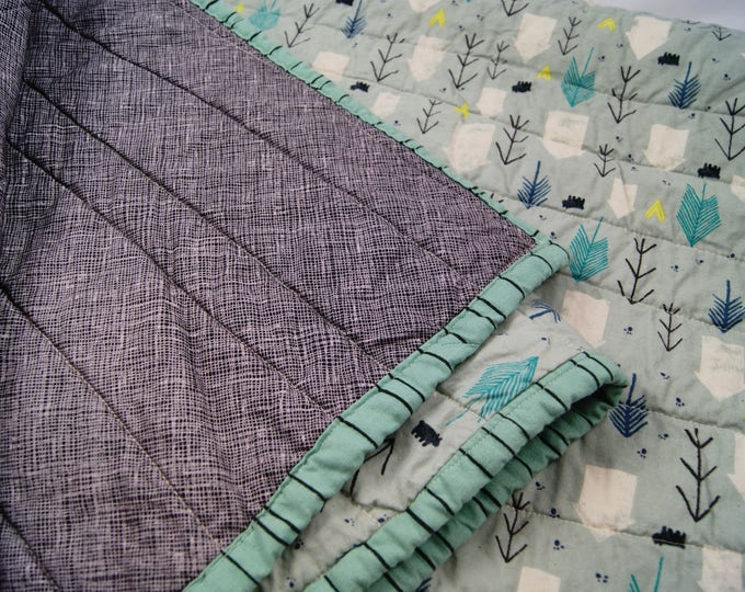 Handmade Modern Baby Quilt In Mint Teal Gray, Gender Neutral