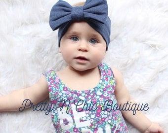 Denim Blue Bow Headwrap - Heather Blue Bow Headband