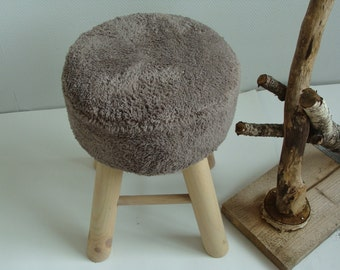 Stool with brown cloth (wood)