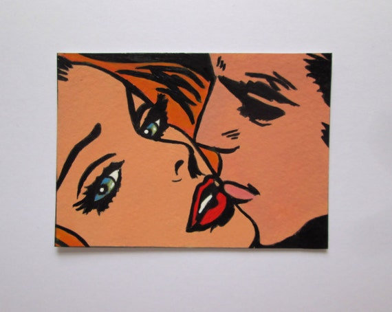 ACEO Original Miniature Painting Pop Art Comic Girl Man Couple Artist Trading Card