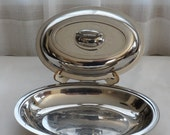 RESERVED 4 SARA Vintage 1960s SW 18-8 Stainless Steel Lidded Chafing Dish/Shiny Chrome Looking Covered Serving Dish