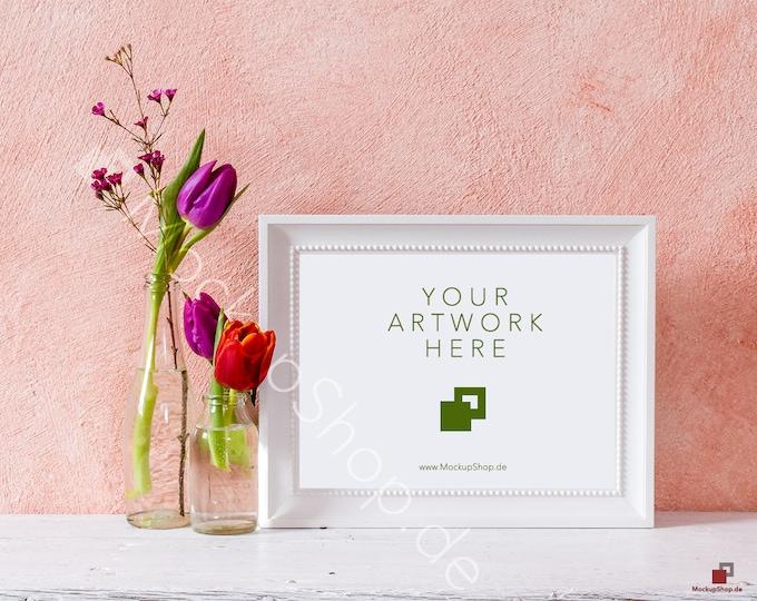 SPRING FRAME MOCKUP horizontal frame / spring flowers / valentines day / white empty frame mockup / flower frame mockup / landscape frame