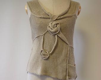 Summer natural linen top, M size. Feminine boho  style.