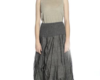 Artsy dark grey linen skirt, L size.