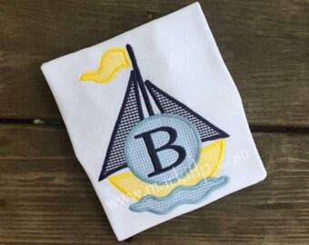 Circle Initial Sailboat Shirt