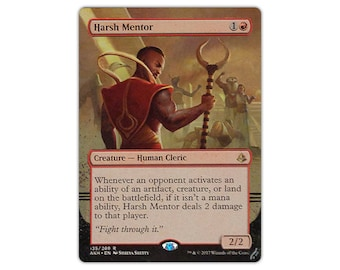 Hand Painted Altered MTG Harsh Mentor Border Extension