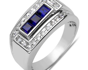 Men's 1/4CT Diamond with Created Sapphire Ring in 10k White Gold with a Cage Back