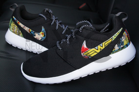official photos df2fa 54eac durable service Wonder Woman Nike Roshe One Run Black Custom by NYCustoms  on Etsy
