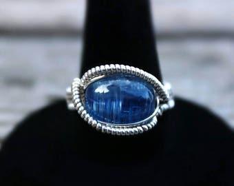 Size 7 Kyanite Ring, Asymmetrical Heady Ring, Kyanite Wire Wrap, Kyanite Ring, Wire Wrapped Kyanite, Heady Wire Wrap, Kyanite Cabochon