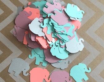 Mint, Metallic Silver, Orange Sherbert, Mauve Elephant Confetti for Baby Shower, Elephant Theme Party, Card Making, Scrapbooking
