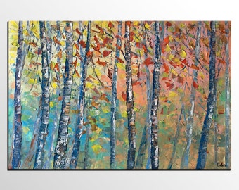Large Art, Oil Painting, Canvas Art, Abstract Painting, Original Art, Abstract Art, Landscape Painting, Canvas Painting, Birch Tree Wall Art