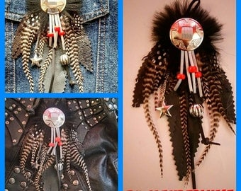 Country pendant leather feather Rooster grizzly