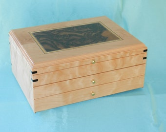 Quilted Maple 2 Drawer Jewelry Box