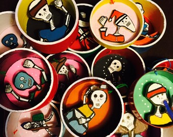 "SALE 13 Dia de Los Muertos Christmas Ornaments--""Las Calacas""--100 Percent Upcycled FREE SHIPPING"