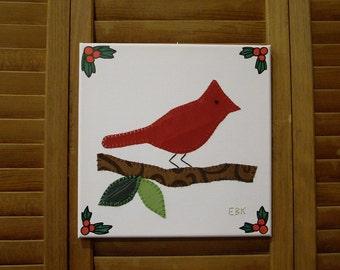 Bird on Branch #2 Fabric Wall Art