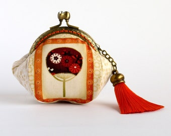 Hand crafted gold embossed Japanese Kimono coin purse with kiss lock frame - collectable #0015