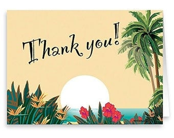 18 Boxed Thank You Note Card - Hawaiian Sunset - Tropical Thank You - 14027