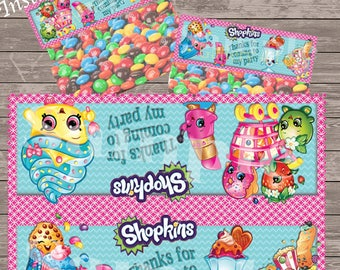 Shopkins party bag toppers - Teal and Pink -  Foldable treat favor toppers - YOU RECEIVE 2 SIZES - Instant Download - two per page