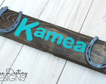Personalized Wood Horseshoe Sign - Stable Stall Signs - Horse Name Sign - Font E, rustic, barn wood, cabin, country, True Destiny, TDD21