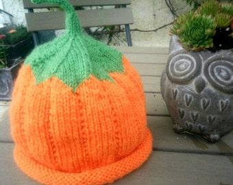 Pumpkin Hat / Size 1-4 Months Or 4-9 Months / Handmade Knitting