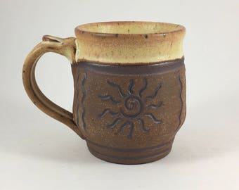 Pottery Mug, Handmade Stoneware, Sun Mug, Coffee Cup, Ceramic Mug, 9 Ounce Mug, Unique Mug, Gift Idea, Ready to Ship