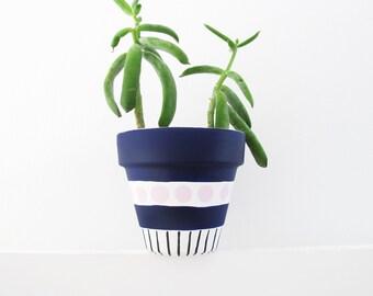 Blue Spot & Stripe Plant Pot - 11cm