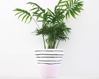 Hand Painted Pink Stripe Plant Pot - 15cm