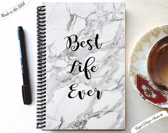 Best life ever / marble journal / Black and white marble notebook / Blank notebook / Handmade journal /  spiral notebook.