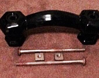 Antique Black Octogon Cut Glass Pulls