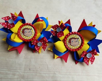 Curious George girls hair bows. Set of 2. Perfect for piggy tails :)
