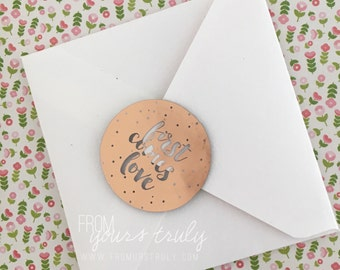 Gold, Rose Gold, Silver, Teal, Mint, Pink Wedding / Engagement Foiled Clear Text Round Stickers: first comes love (pk 20)