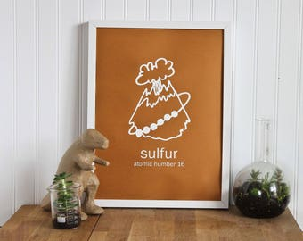 Periodic Table Chemistry Poster of Sulfur, the perfect science gift for him or her