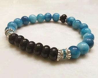 Natural Larimar Bracelet. Gemstone Bracelet. Yoga Jewelry. Blue Bracelet. Black Onyx Bracelet. Reiki Bracelet. #MB196