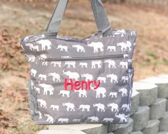 Elephant Diaper Bag, Gray Diaper Bag, Boy Diaper Bag, Girl Diaper Bag, Elephant Baby Shower, Baby Shower Gift, Canvas Bag, Personalized Tote