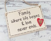 Handmade Plaque  Family sign  Family Plaque  Family Gift
