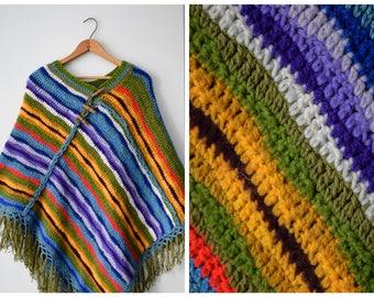 Vintage handknit poncho | One size