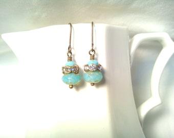Simple Turquoise Earrings Rhinestone Earrings Czech Bead Earrings Turquoise Dangles Light Stylish Classic Dressy Small